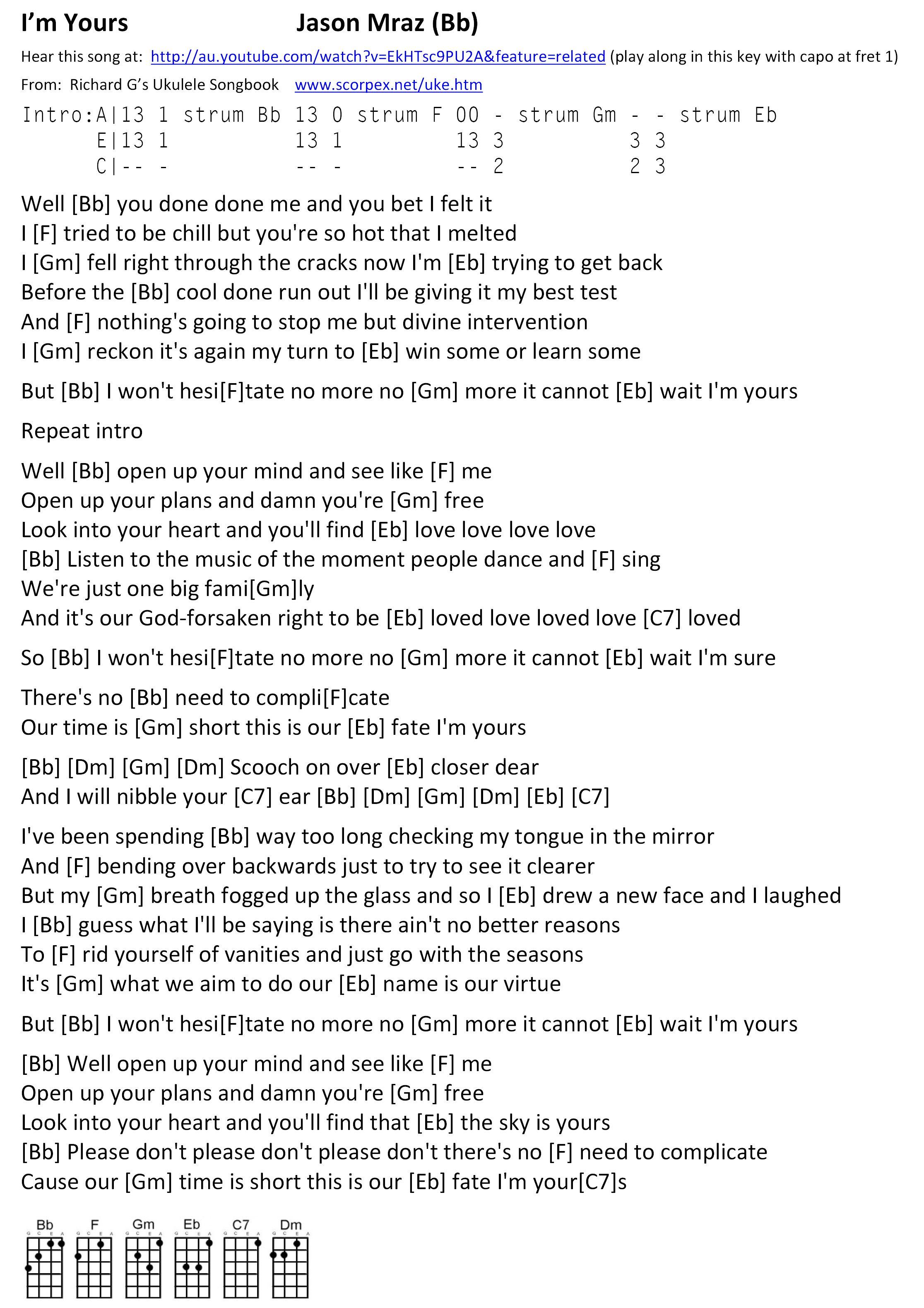 im your by jason mraz chords amp lyrics for ukulele in b