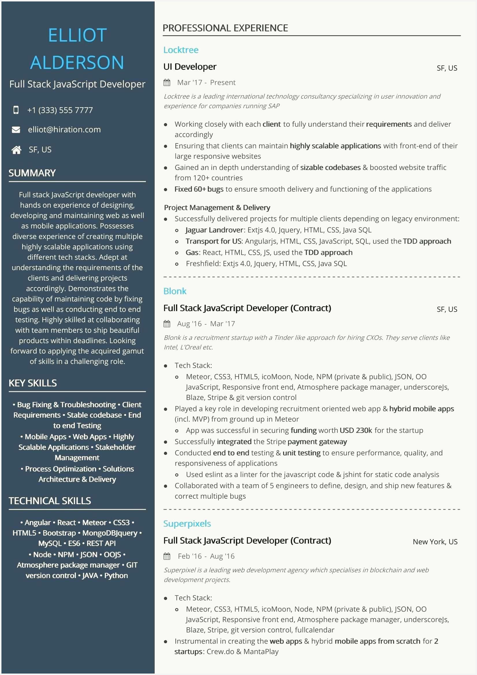 53 free full stack developer resume images in 2020