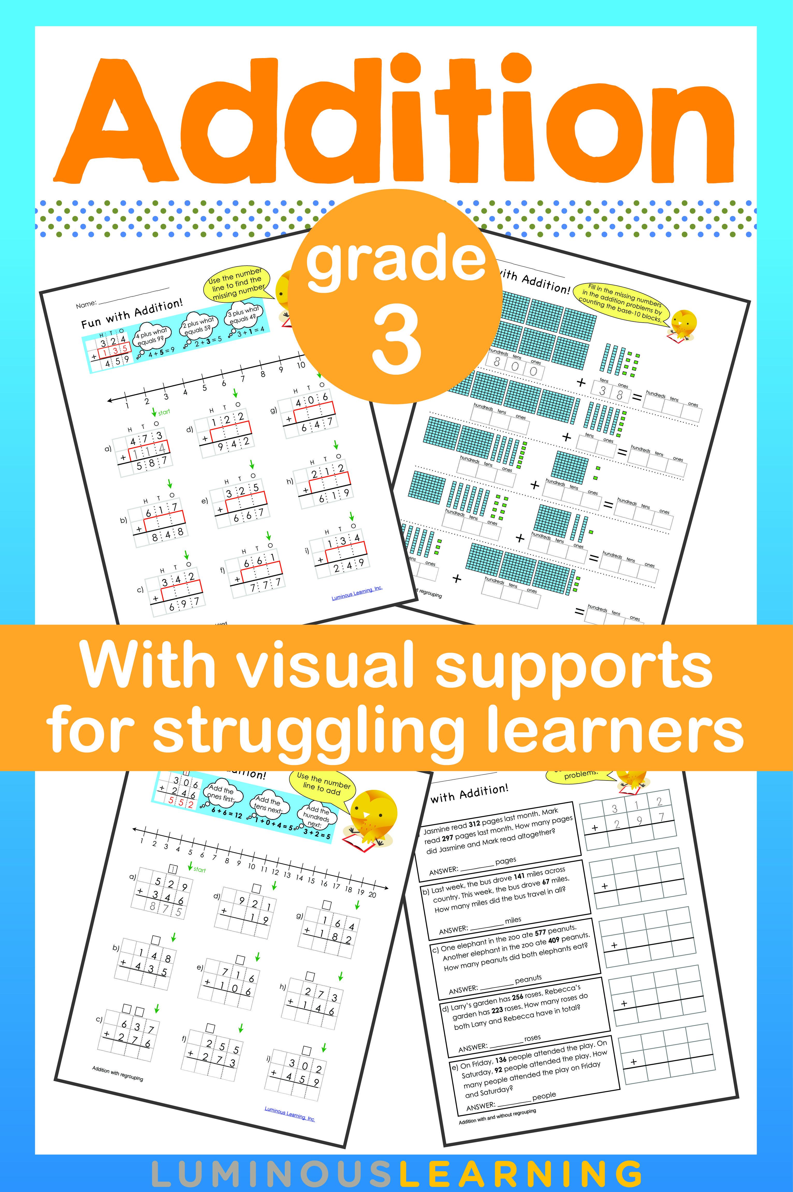 Luminous Learning Grade 3 Addition workbook provides math practice ...
