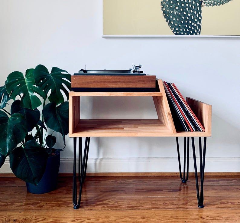 Record Player Console, Record Player Stand, Turntable Sideboard, Turntable Shelf with Hairpinlegs, Vinyl Shelf