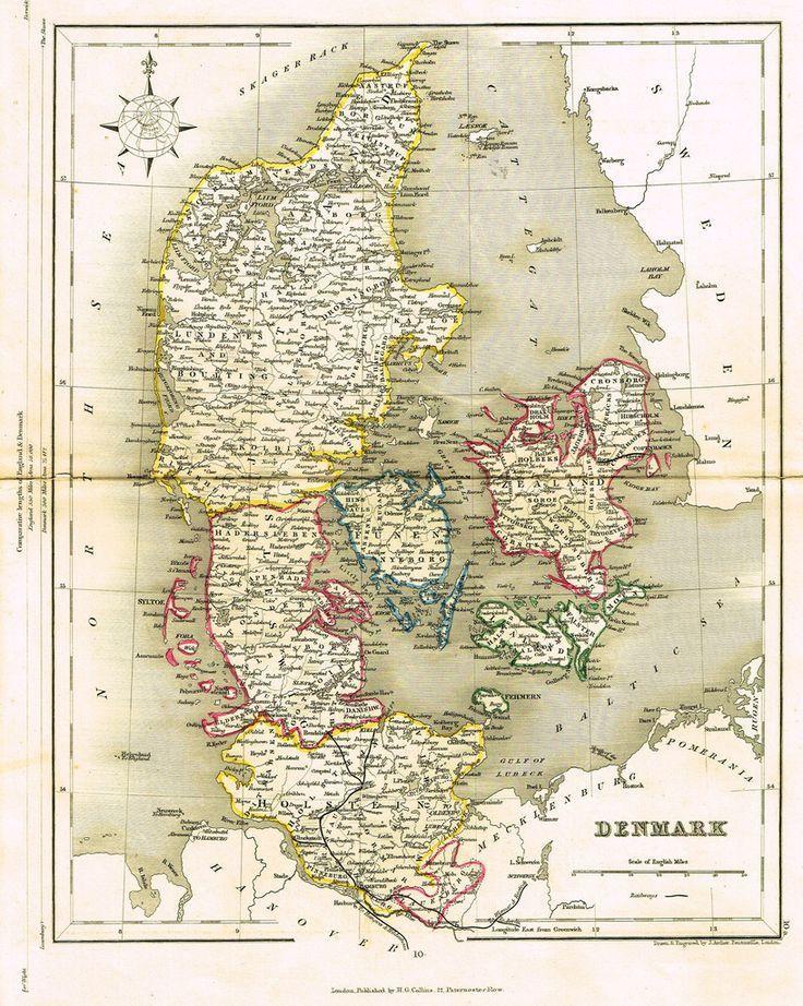 Nordpil denmark c1850 map denmark danmark alte for Kopenhagen interessante orte