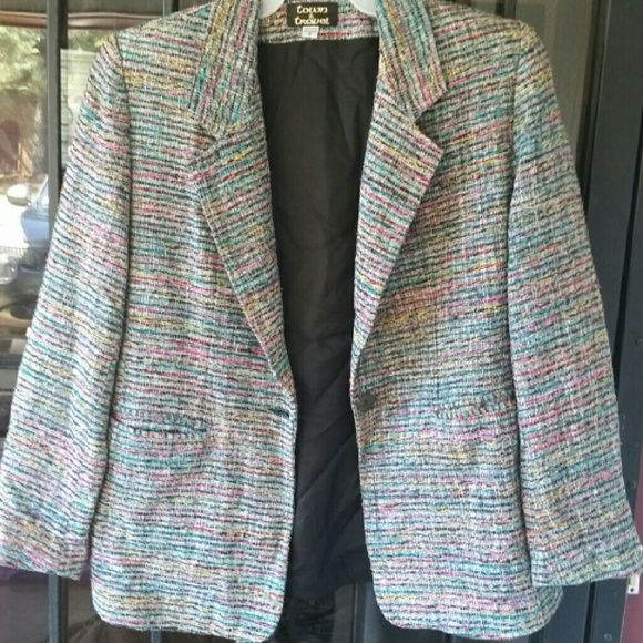 Town & Travel Multi Colored Tweed Blazer  SZ 8 Very Nice Blazer to accent slacks, skirts or dresses Town & Travel  Jackets & Coats Blazers