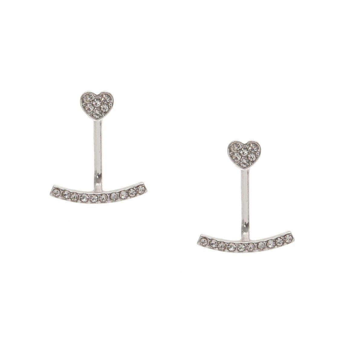 Silver-tone Faux Crystal Heart Front and Back Ear Jacket Earrings ...
