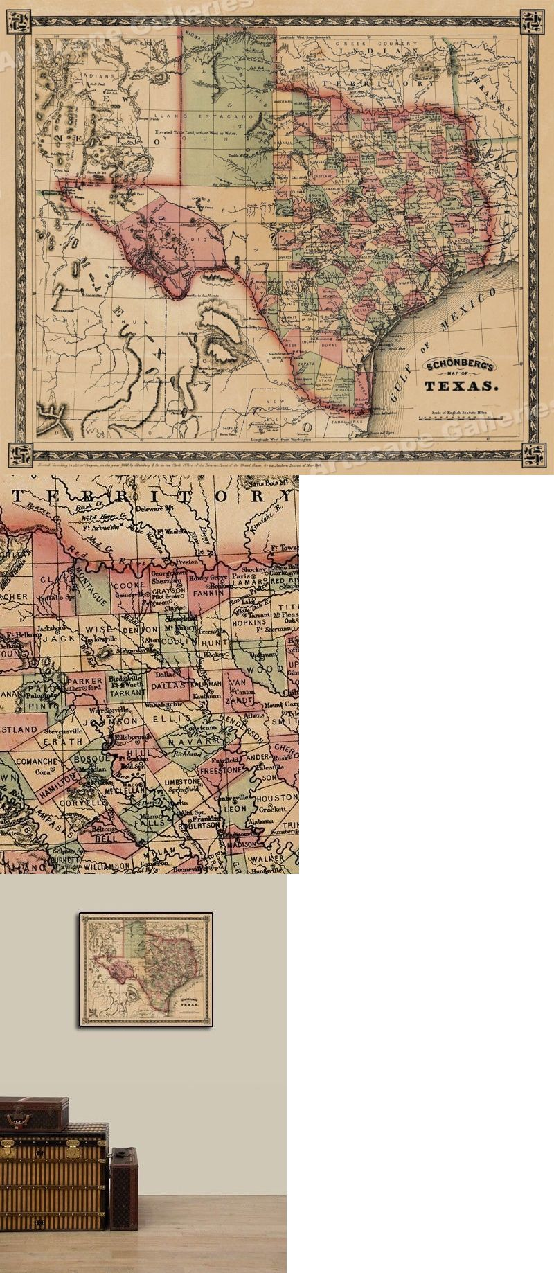 1866 Schönberg/'s Early Map of Texas Historic Map 24x28