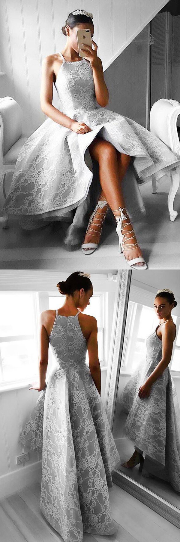 Highlow sleeveless grey satin prom dress evening dress with lace
