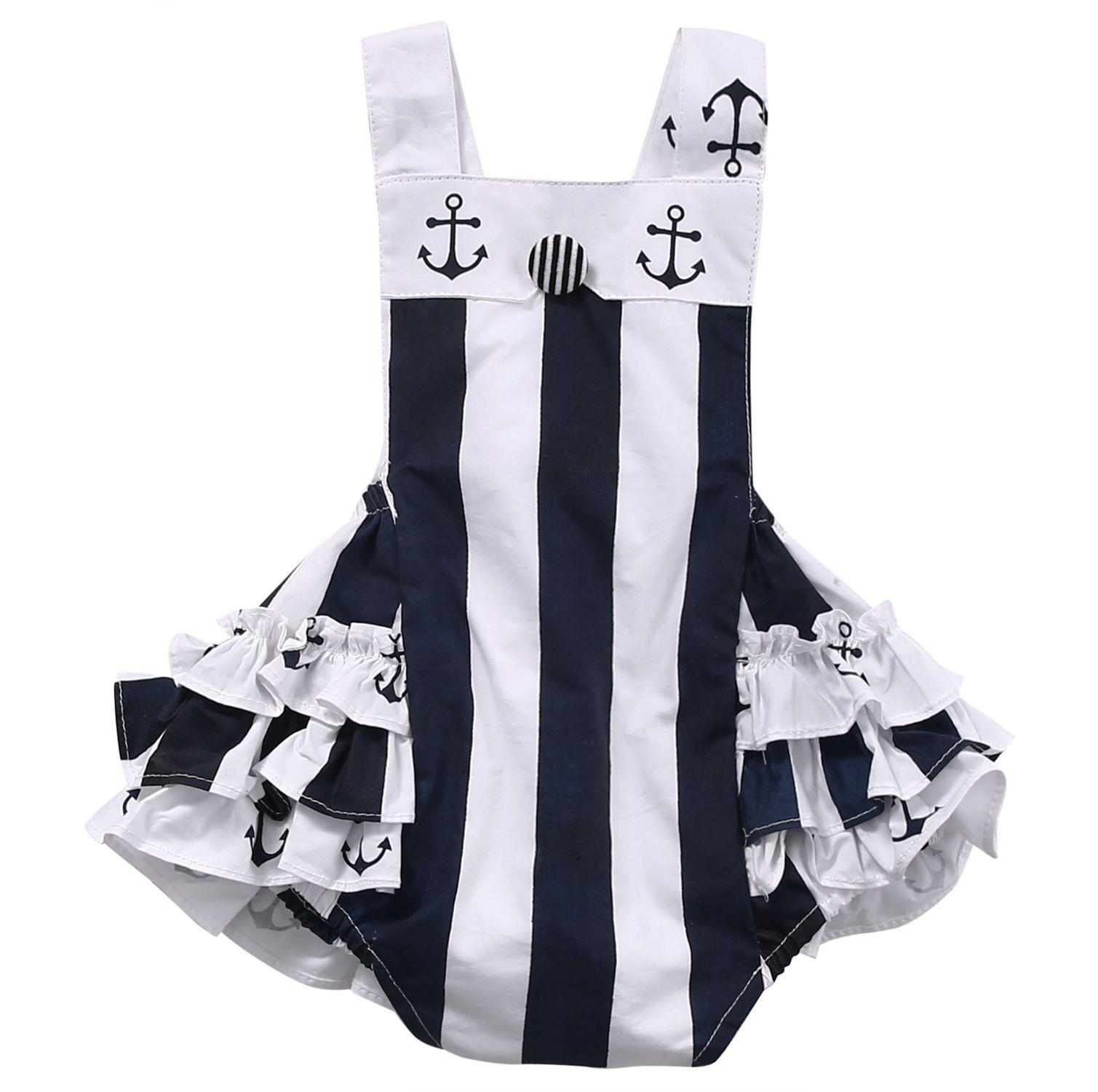 Newborn Kids Baby Girls Clothes Toddler Bodysuit Sleeveless Ruffles