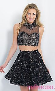 Buy Short Black Two Piece Lace Dress by Blush at PromGirl