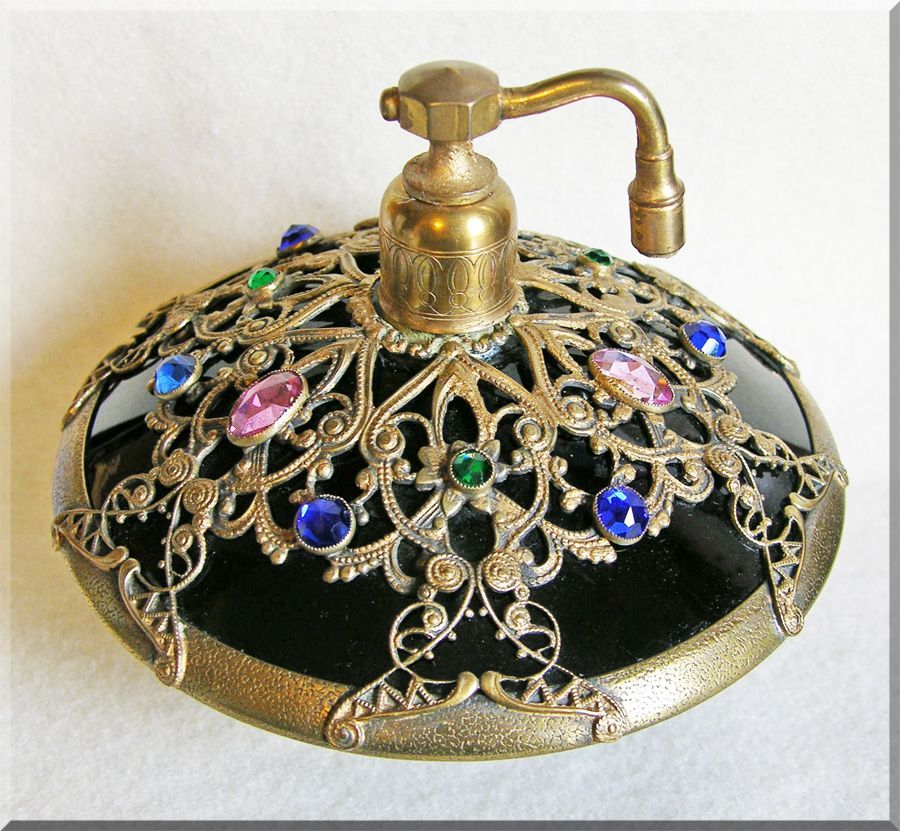 Vinrtage - Czech Deco jeweled filigree old estate glass perfume bottle