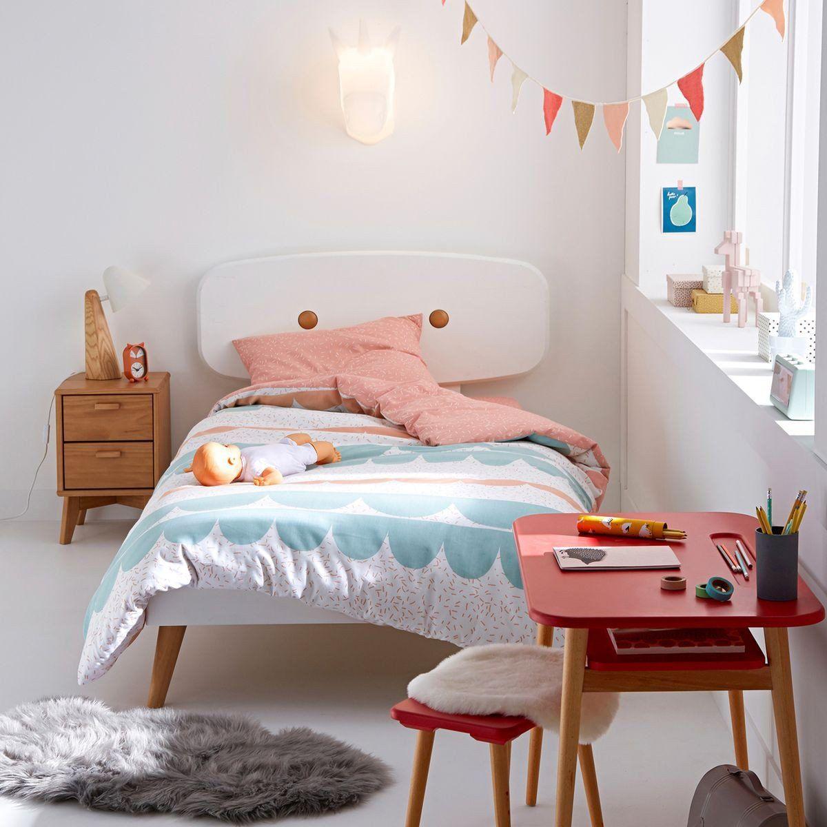 un lit pour enfant avec tte de lit scandinave blanc et pied en bois cette - Lit Scandinave Enfant