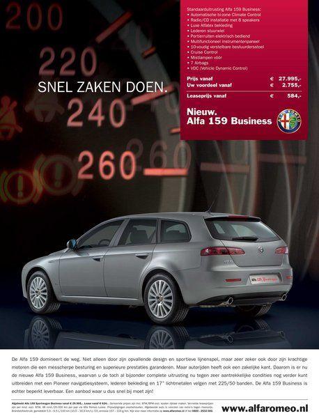 Gelimiteerde Business Edition Van De Toch Al Rappe Alfa Romeo 159 Sport Dus Copy I O V Storm Creative Consultancy Alfa Romeo Sport Advertenties