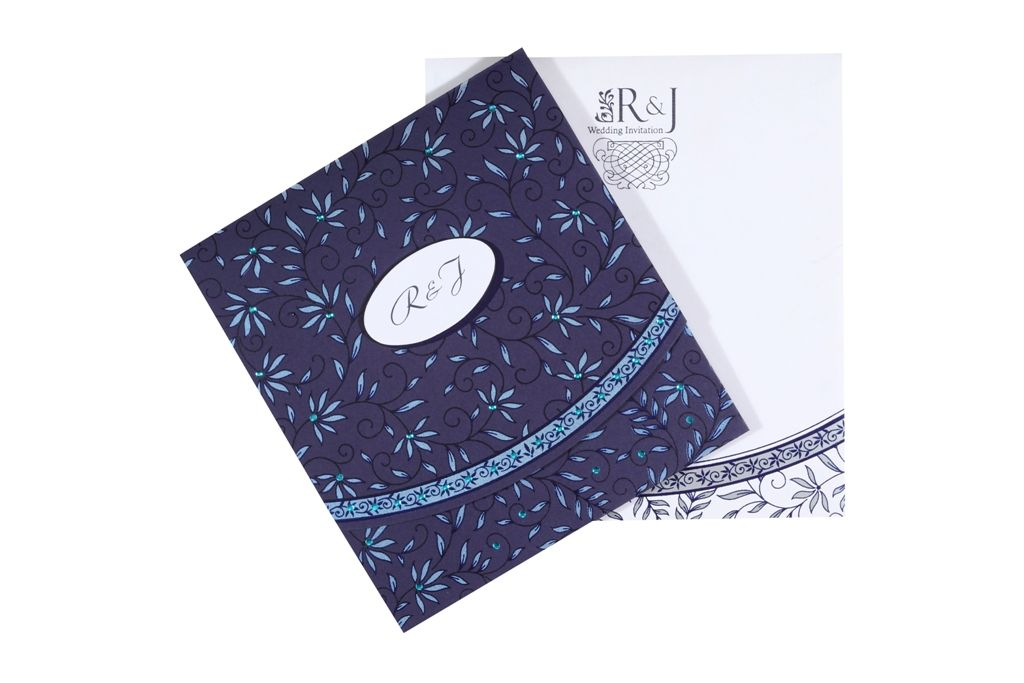 Elegant Midnight Blue And White Wedding CardThis Card Is Made In The Beautiful