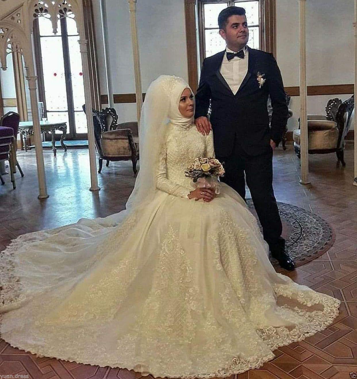 Cool Amazing Muslim Long Sleeve Arab Dubai Wedding Dress Vintage ...