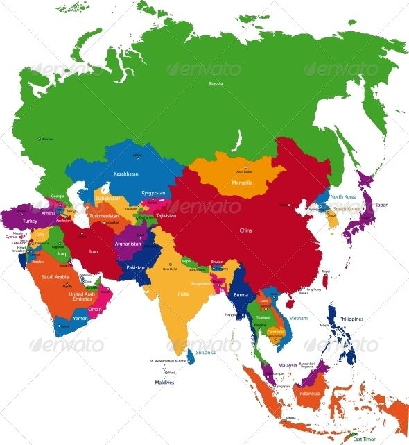 colorful asia map travel