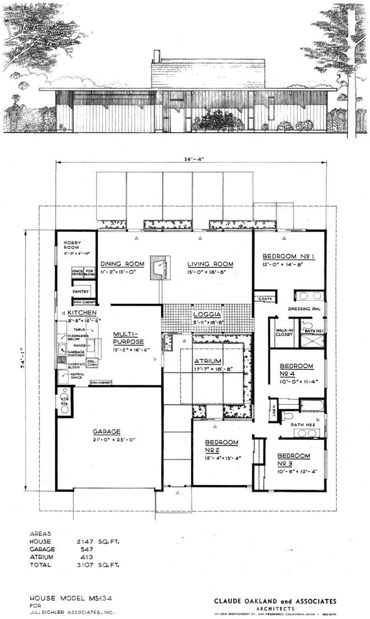 The Original Elevation And Floor Plan House Model Ms 134 For J L Eichler Associates Inc By Cl Vintage House Plans Courtyard House Plans Modern House Plans