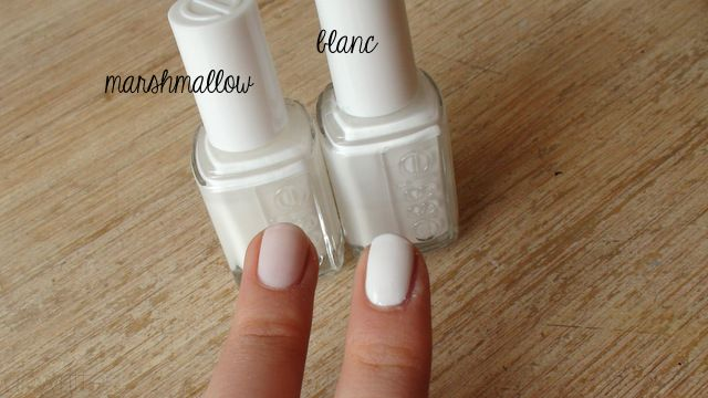 Essie Marshmallow Vs Blanc I Own Marshmallow And It Is As White As The Nail Polish Bottle Cap After Using French Manicure Acrylic Nails Manicure Essie Nail