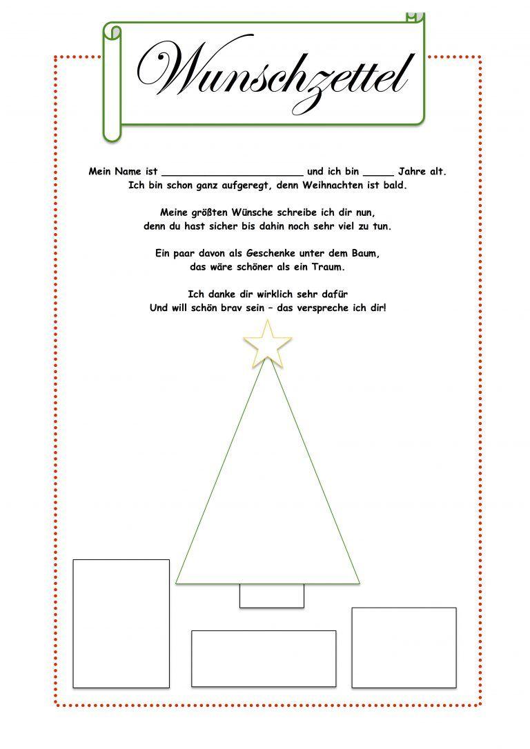 Wunschzettel Schreiben Mit Vorlage Wunschzettel Weihnachtsarbeitsblatter Weihnachten Kinder
