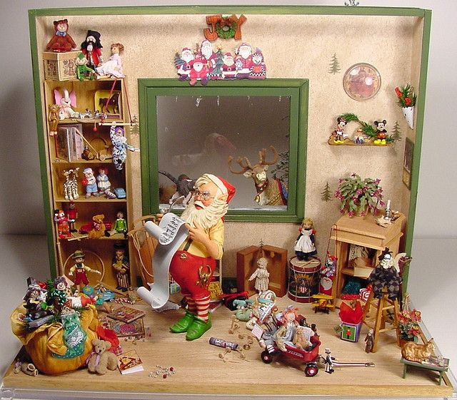 Victorian Christmas Santa Miniature Dollhouse Picture