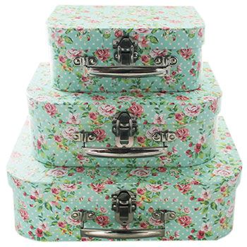 Rose Print Storage Suitcases Set Of 3