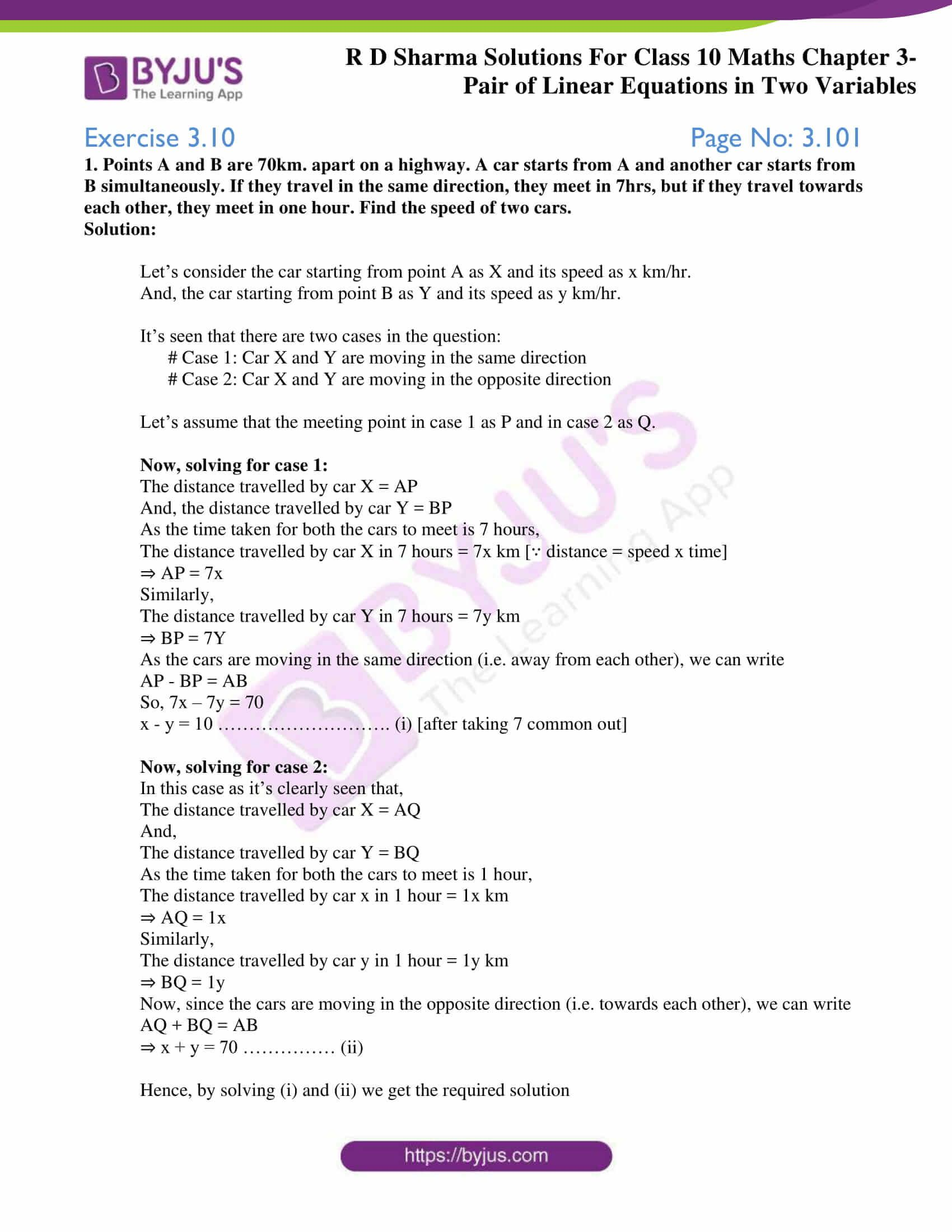 Rd Sharma Solutions For Class 10 Chapter 3 Ex 3 10 Linear Equations Equations Solutions [ 2200 x 1700 Pixel ]