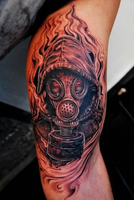 Flaming Zombie Gas Mask Tattoo On Half Sleeve Mascara De Gas Tattoo Mascara Tatuagens