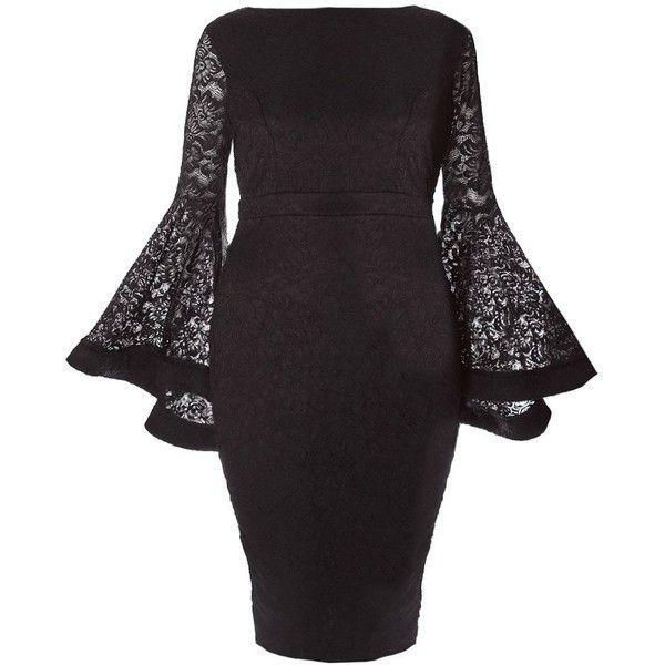 Plus Size Lace Bell Sleeve Midi Dress Black 60 Liked On