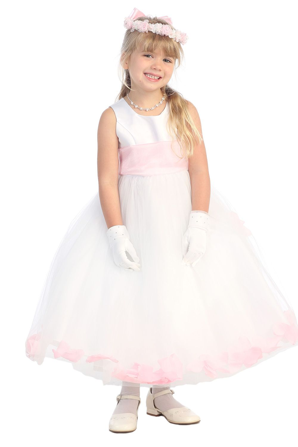 White Satin Flower Girl Dress With Pink Petals Sash G2570 Pk