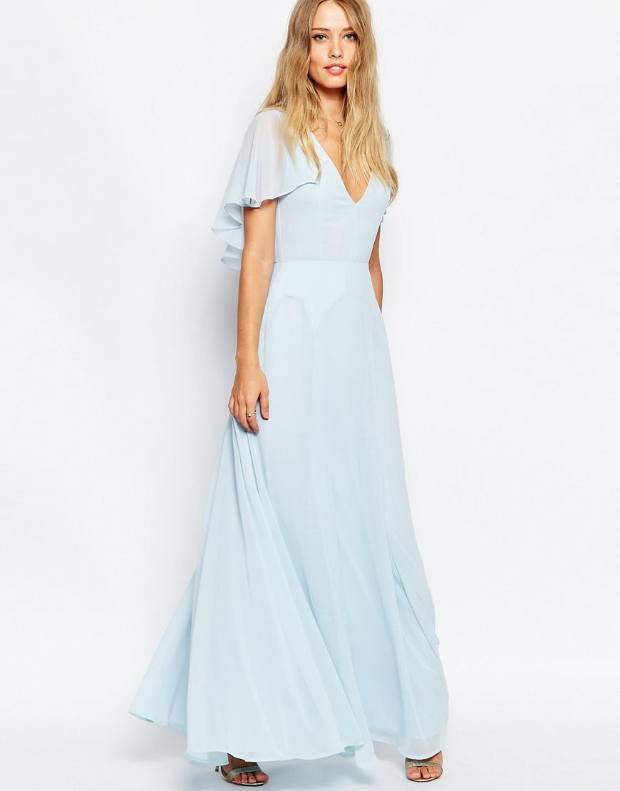 Asos flutter sleeve cape back maxi dress bridesmaid dresses