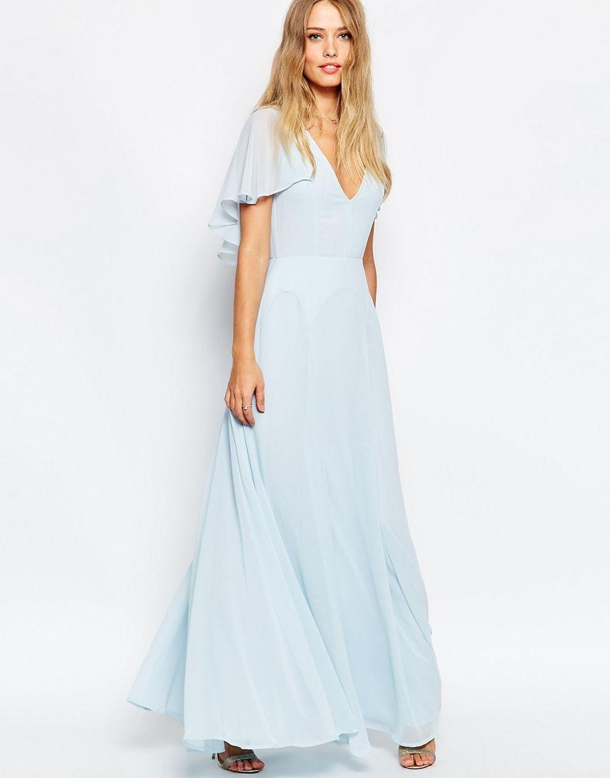 4fec10c5a09ec 1930s style dress. ASOS Flutter Sleeve Cape Back Maxi Dress - Blue £55.00  AT vintagedancer.com
