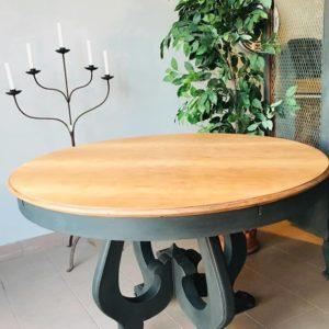 tavolo tondo piano legno e base grigio scuro   Tavolo ...