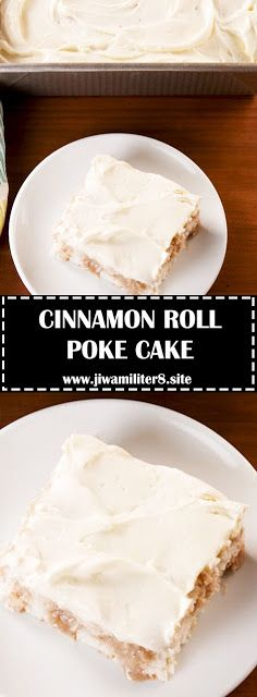 CINNAMON ROLL POKE CAKE - #recipes #cinnamonrollpokecake