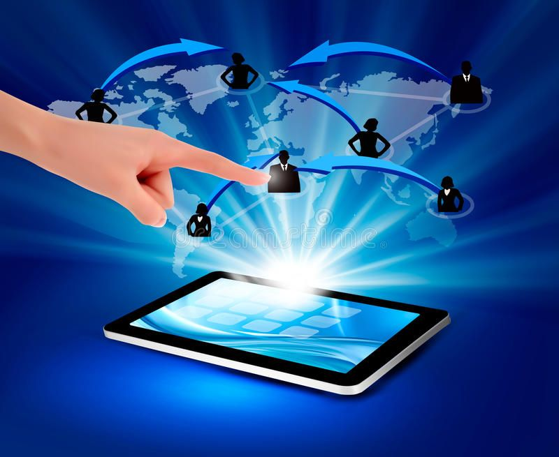 Modern Communication Technology Illustration With Tablet Vector Illustration Spon Technology C Vector Illustration Illustration Stock Photography Free