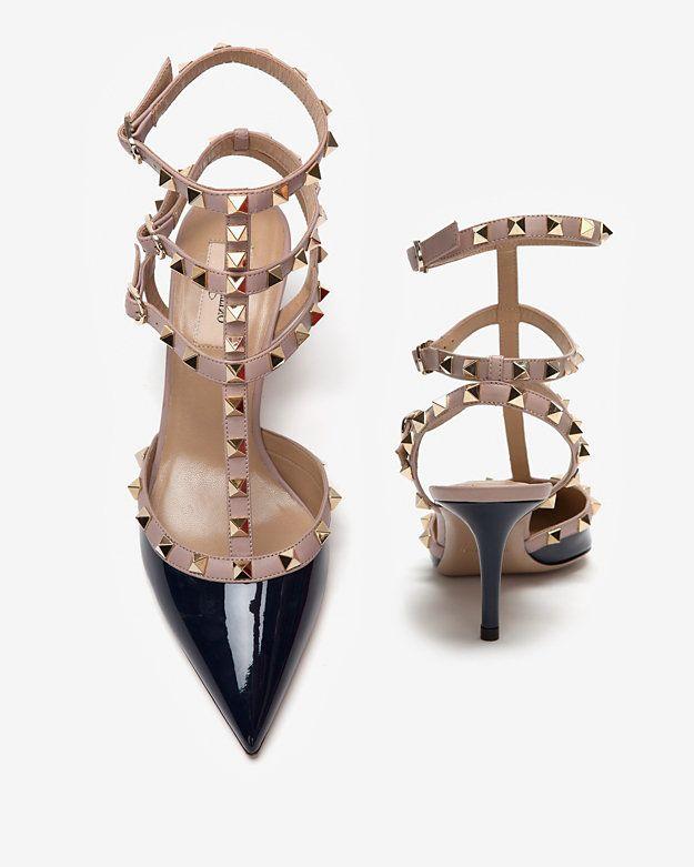 Valentino Rockstud Slingback Colorblock Patent Pump: Navy