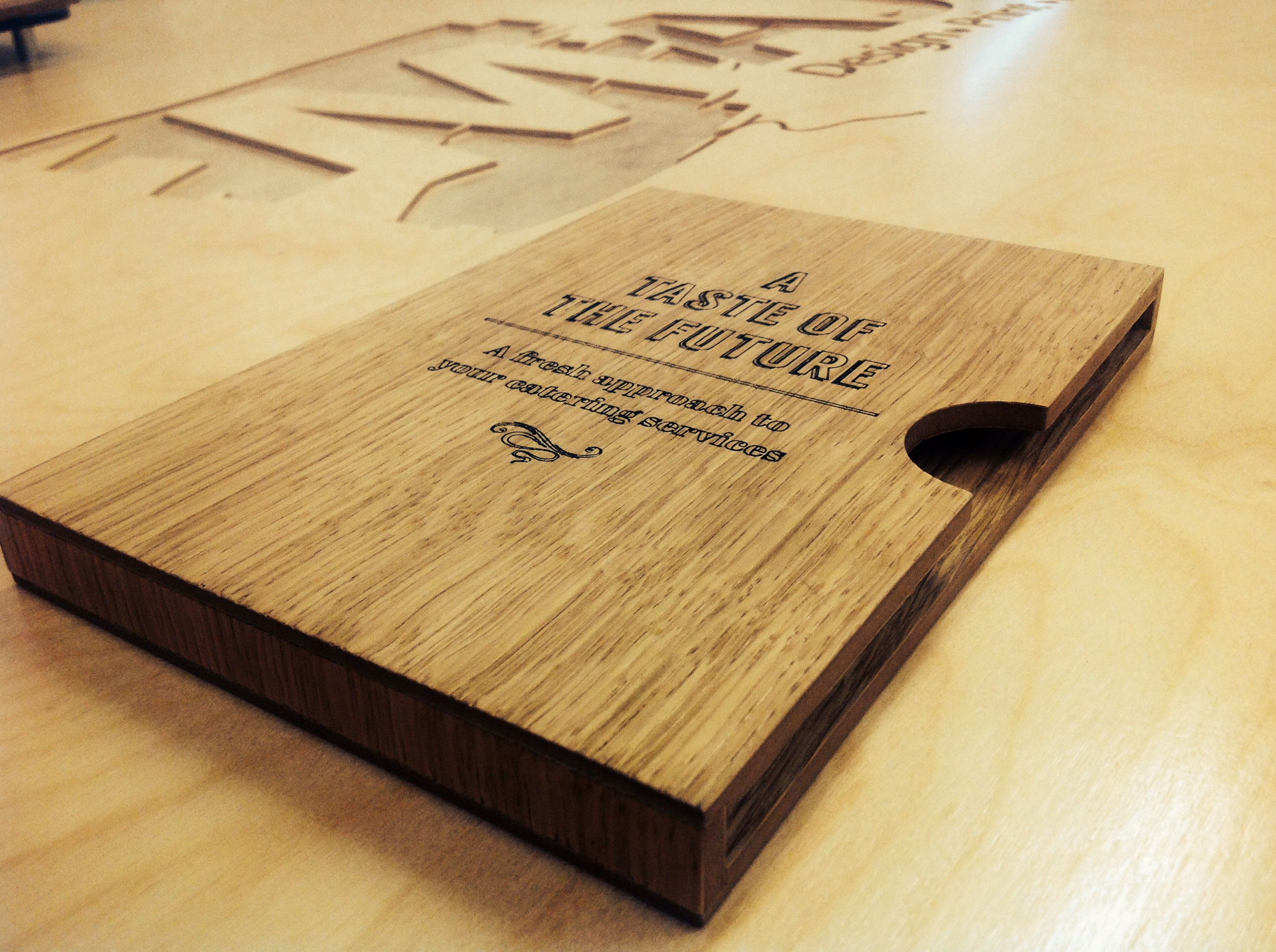 Bespoke wooden menu holders brochure display