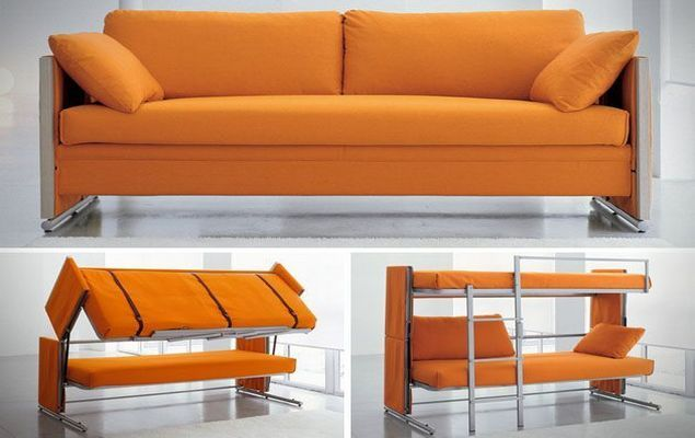 This Compact Sofa Serenely Transforms Into A Bunk Bed Doesn T It