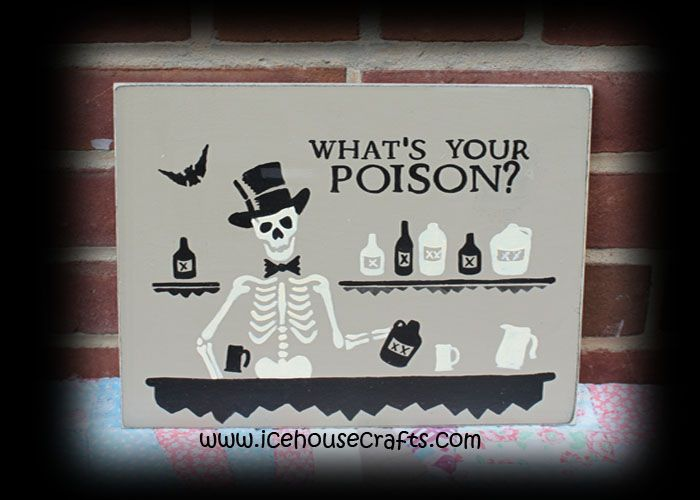 whats your poison sign halloween tiki bar man cave primitive hand painted wood sign