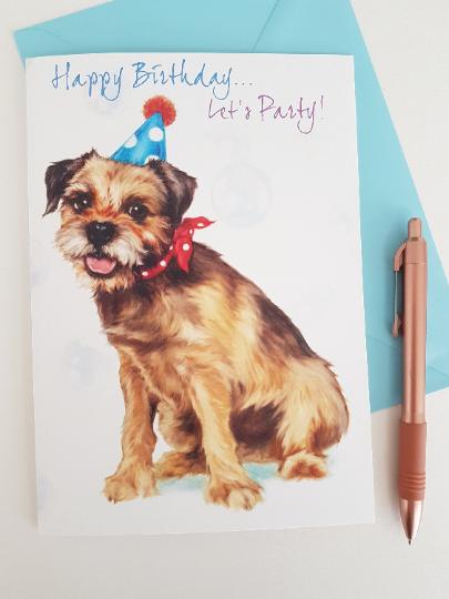 Border Terrier Birthday Card Terrier Birthday Card Dog Birthday Card Hund Geburtstag