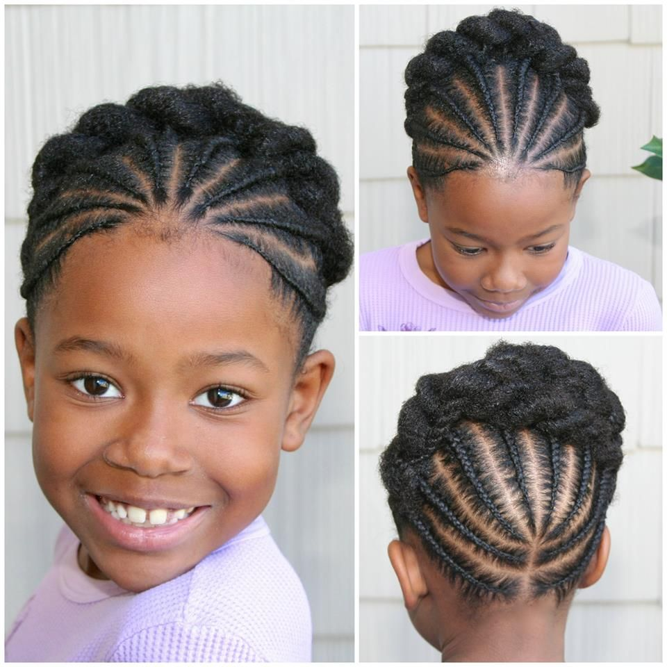 Very cute braided updo style for little naturals hairstyles
