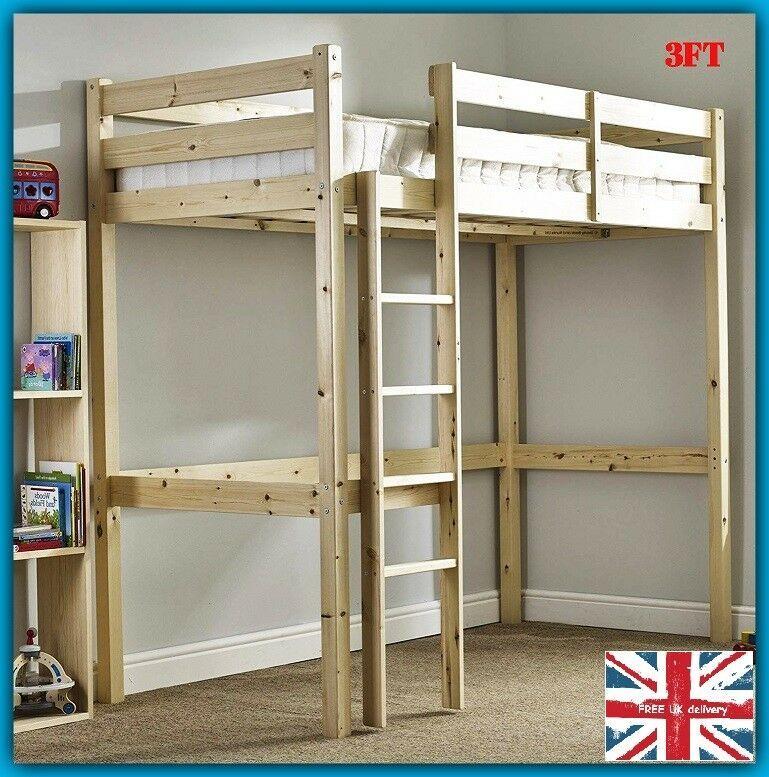 Heavy Duty Bunk Beds Loft Single Ladder Stairs High Bunkbeds Kids