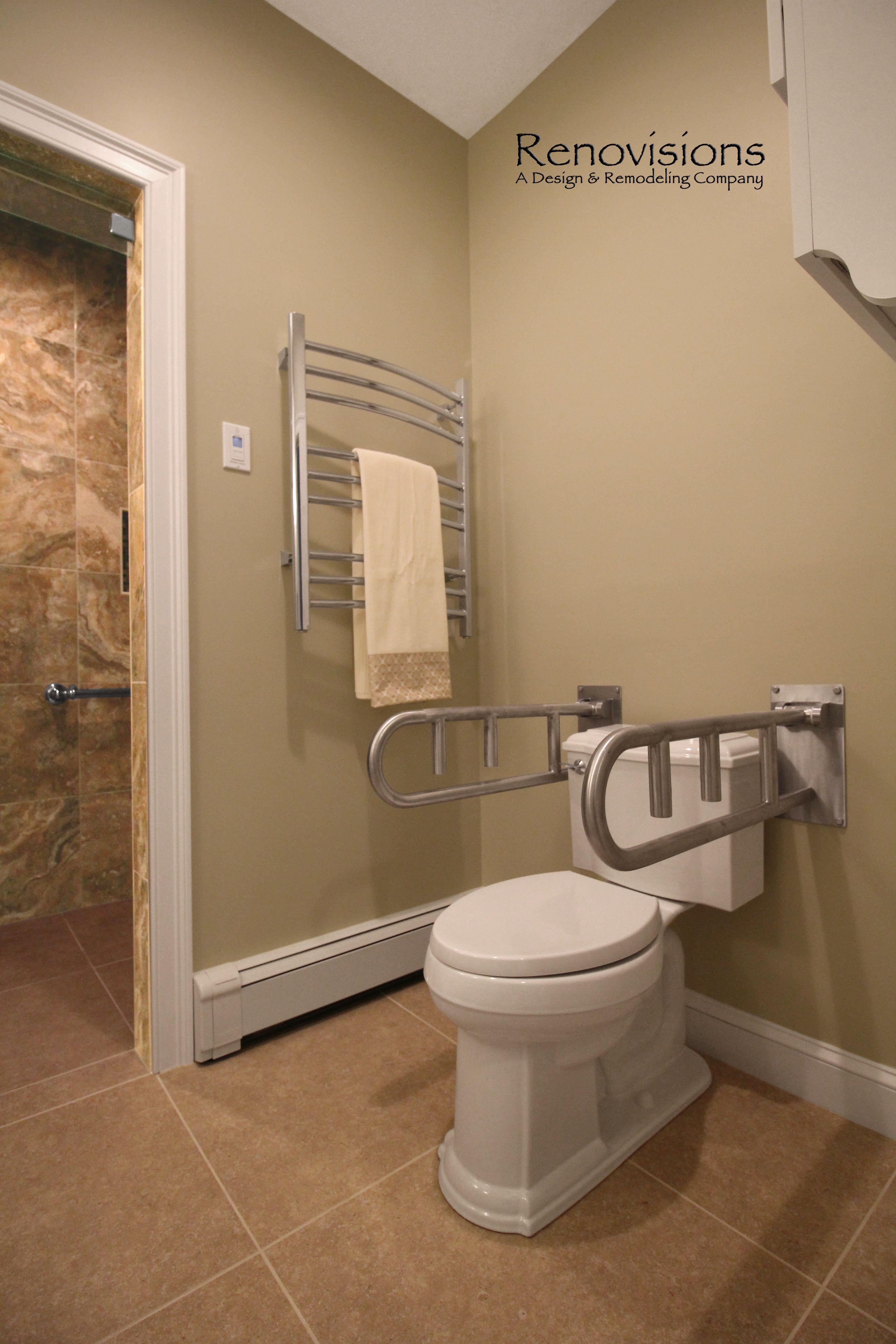 Master bathroom remodel by Renovisions. Tile shower, safety grab ...