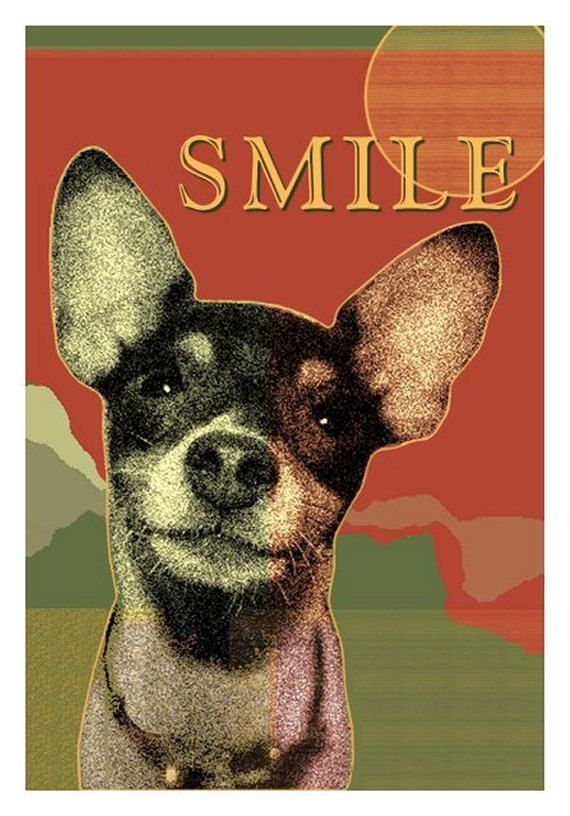 Smiley TOY FOX TERRIER Dog Print Happy Rat by SeaGardenCottage