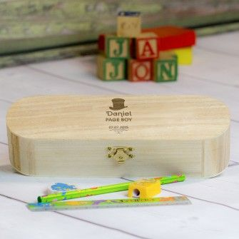Engraved Page Boy Wooden Pencil Box Set Top Hat Design Back To