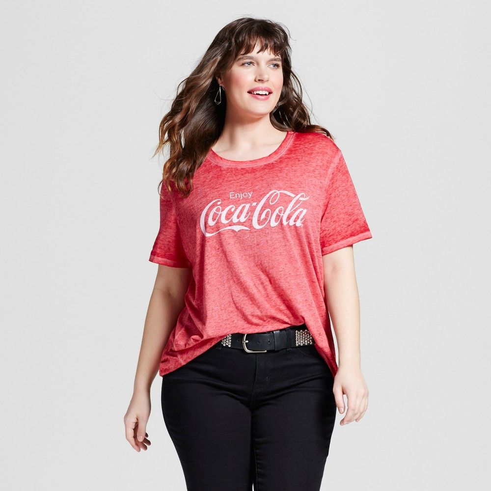 ed67a56d222 Women s Plus Size Coca Cola Graphic T-Shirt Red