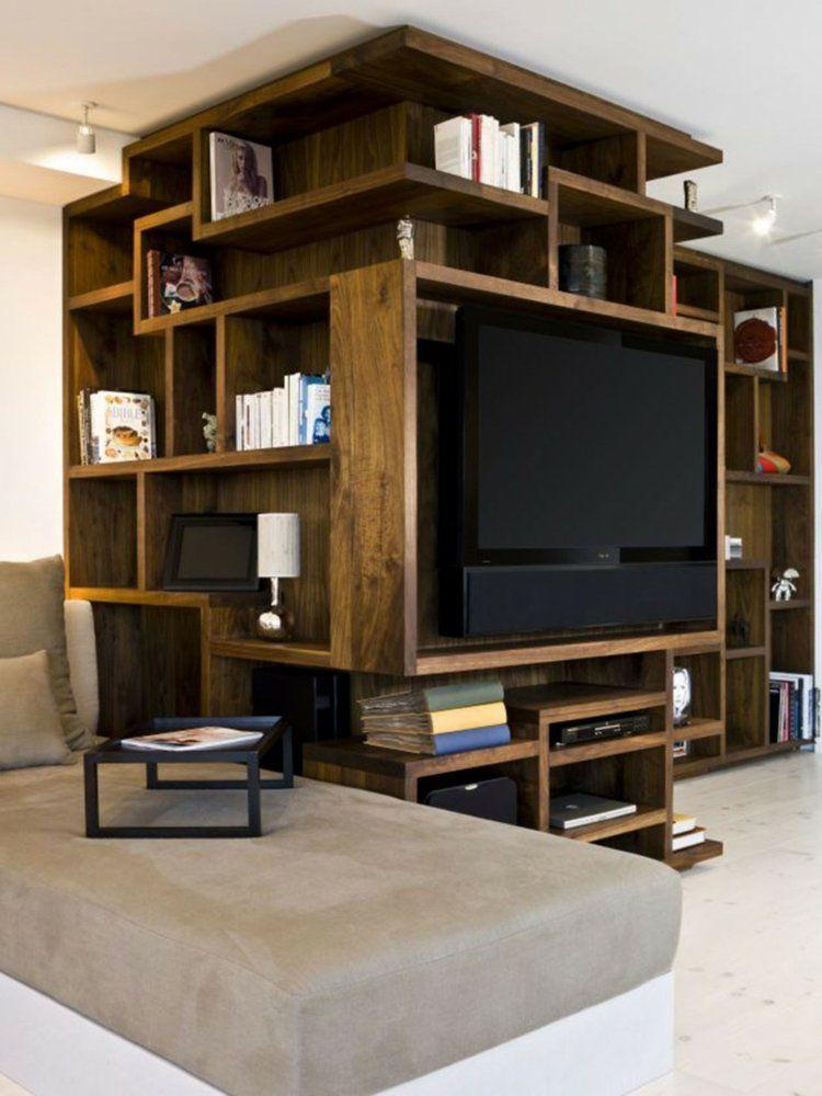 rangement salon moderne et meuble de tele design en bois massif