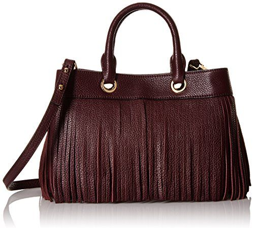 Milly Es Fringe Small Tote Convertible Top Handle Bag Bordeaux One Size
