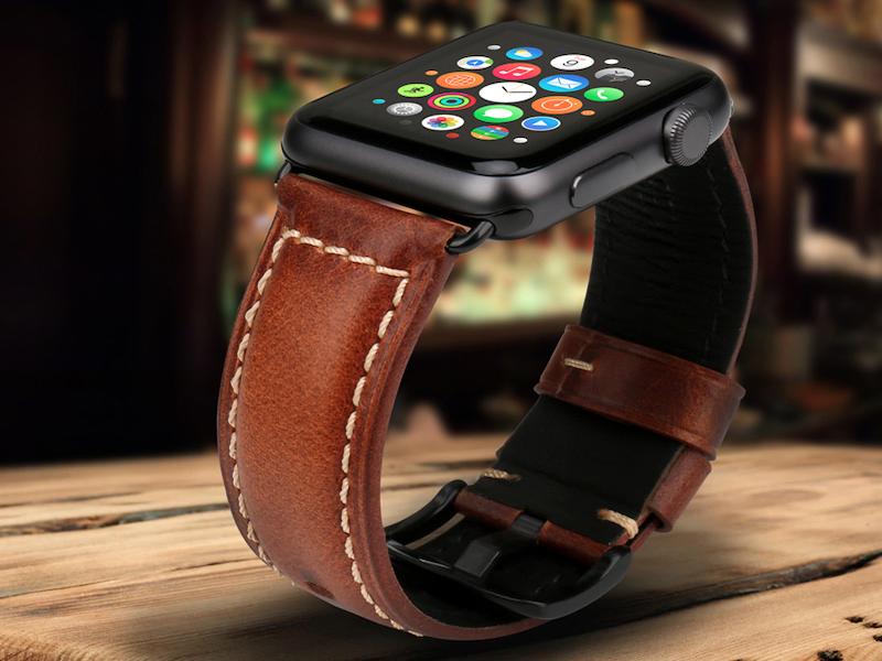 Apple Watch Leder Armband Echtleder Handgefertigt Apple Watch Series 1 2 3 4 Oil Waxed Leder Dunkelbraun Apfeluhr Armband Leder Lederuhren