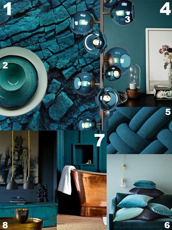 De diepgroene mysterieuze kleur petrol is weer helemaal for Interieur kleuren