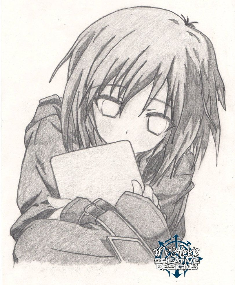 Anime Girl Kissing A Frog Pencil Sketch