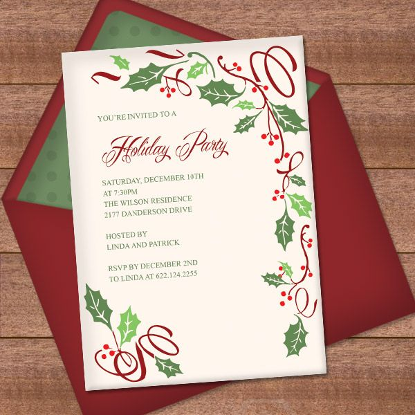christmas invitation template with holly border design