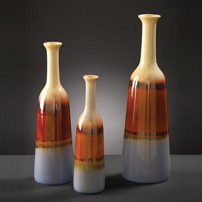 Howard Elliott Ceramic Bottles in Multicolored Glaze (Set of 3)