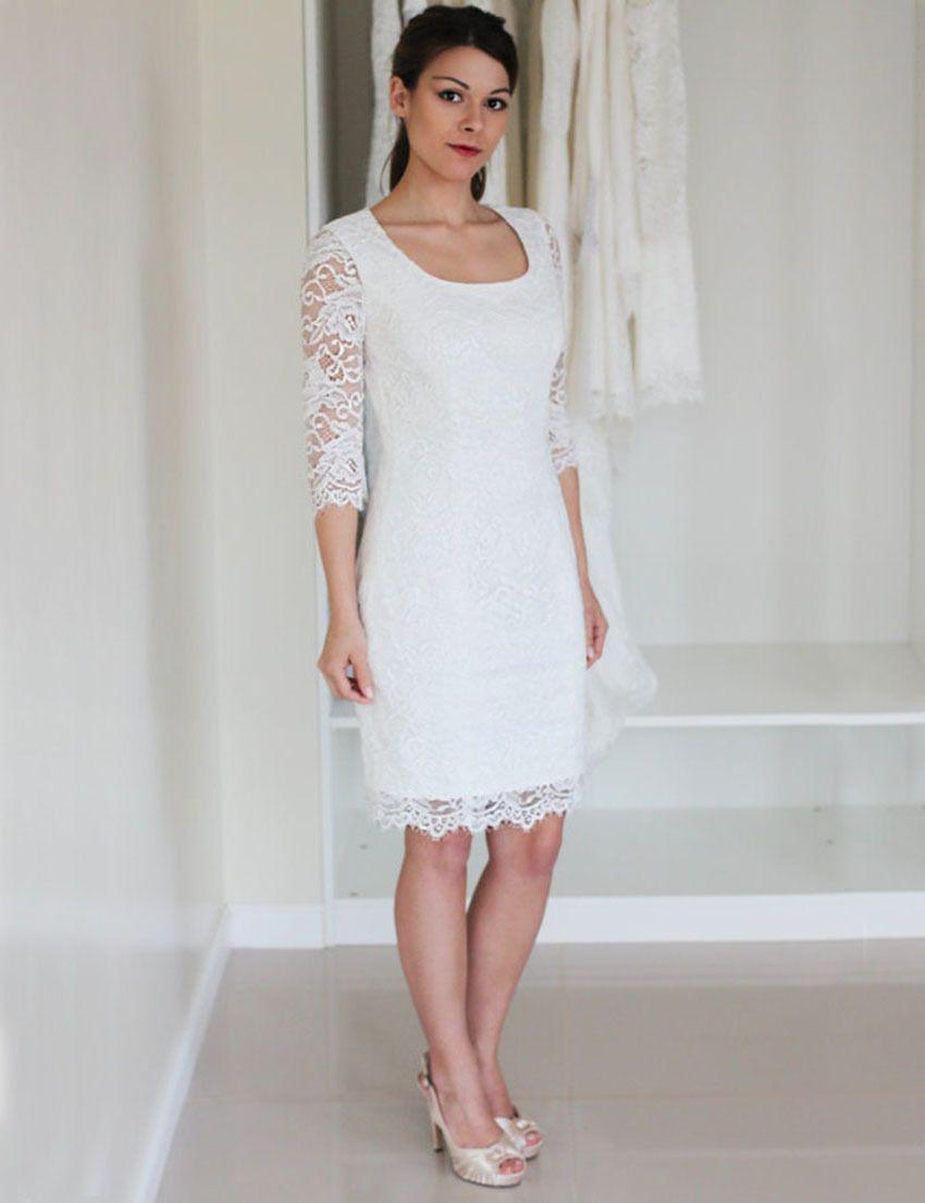 Click to buy ucuc short wedding dress sleeves kneelength bridal